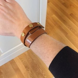 Tory Burch leather wrap bracelet with gold studs